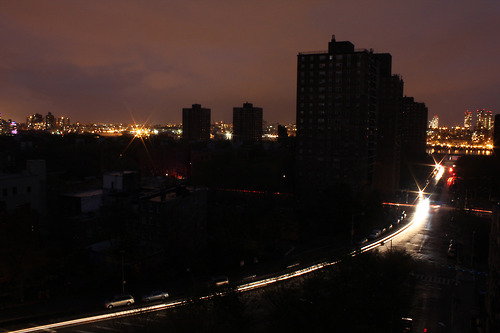 Blacked out LES with the lights of Brooklyn taunting us.