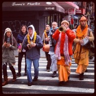 No power in the Lower East Side isn't going to stop the Hare Krishna's from having a good time.