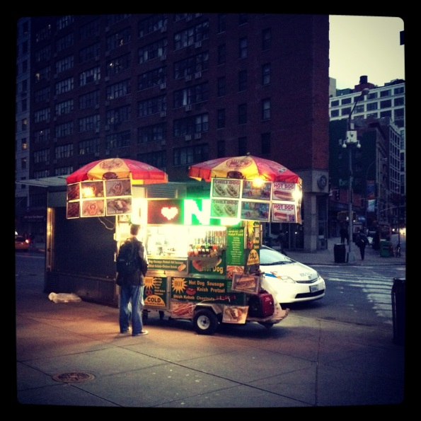 hot dog stand in the dark